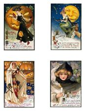 "Vintage Halloween Greetings Reproduction Fabric Quilt Blocks (4) @ 3X4.5"" Each"