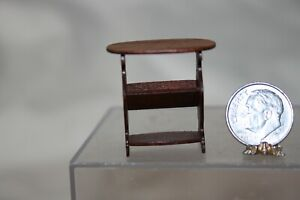 Miniature Dollhouse David Krupick  Wood Side Table w Book Shelf HALF Scale 1:24
