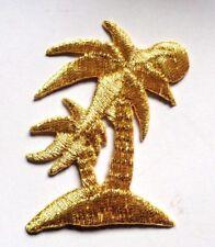 IRON ON PATCH APPLIQUE - PALM TREES GOLD METALLIC