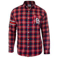 FOCO MLB Men's St. Louis Cardinals Wordmak Basic Flannel Shirt