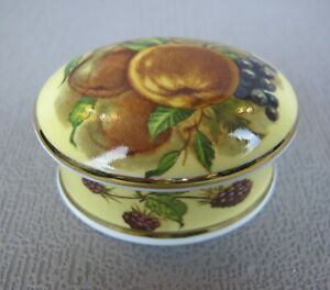 Vintage FALCON CHINA Orchard Fruit gilded oval TRINKET / JEWELLERY BOX.