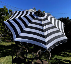 BELLRINO Replacement Black/White Scalloped Edge  Umbrella Canopy for 9FT 8RIBS