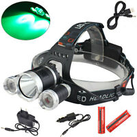 Rechargeable 6000lm GREEN&White XM-L T6+2R2 LED USB Headlamp Torch 18650 Battery