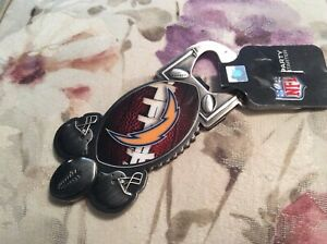 NFL FOOTBALL CHARGERS ADVERTISING METAL MAGNETIC BOTTLE OPENER NEW