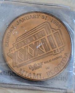 1999 Super BOWL XXXIII MIAMI FL FLIP SOLID BRONZE COIN- Ltd. Edition- UNOPENED