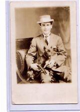 Studio Real Photo Postcard RPPC - Man Seated with Dog