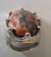 Retro Large Signet Type Ring Rose/Grey Marbled Stone with Silver Plate Size 7.5