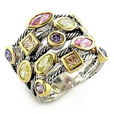 Reverse Two- Tone CZ Multi- Banded Ring- Size 6