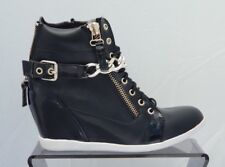 Women's Black Faux Leather Wedge Trainers Boots Gold Chain UK SIZE 8