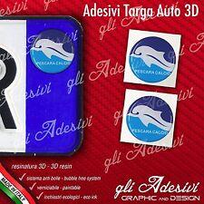 2 Adesivi Stickers bollino 3D Resinato targa Auto Moto PESCARA calcio