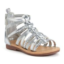 Carter's Smile Silver Gladiator Sandals Shoes Baby / Toddler Girl Size 5 NEW