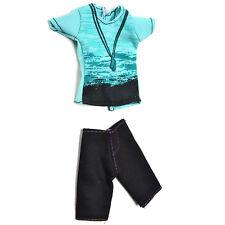 """Green T-Shirt Suit for 11"""" Ken Doll Barbie Cloth Black Short Pant Dolls Suit#"""