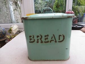 Huge Antique collectable green enamel bead bin with lid Ideal Decorator BREADSom