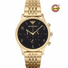 Emporio Armani AR1893 Mens Gold Plate Black Dial Chronograph Quartz Beta Watch