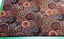 AUSTRALIAN ABORIGINAL ART DESIGN MUGUNGALYI CIRCLES BLACK  COTTON QUILT FABRIC