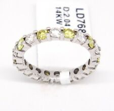 14k White Gold Si1-Si2,2.04tcw, Fancy Yellow & White Diamond Eternity Band,6