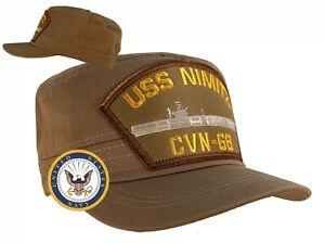 USS Nimitz Hat CVN-68 Hat Cap Khaki w/Free Navy Sticker