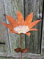 "36"" Rustic Wrought Iron Sunflower Bird Feeder Stake Garden Decor Handmade in Usa"