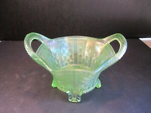 Northwood 8 Sided Ice Green Carnival Glass Bushell Basket