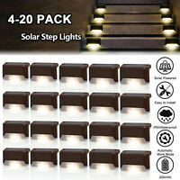 8-20Pcs Solar Powered LED Deck Lights Outdoor Path Garden Stairs Step Fence Lamp