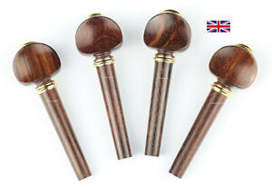 Violin Peg Set Tamarind Wood - Vatelot Model with Brass collar