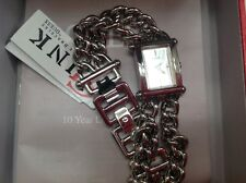 NIB, Women's GUESS watch, silver tone w/separated chain links, rectangular face