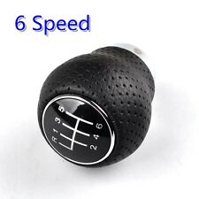Universal 6-Speed Shift Knob Car Vehicle Manual Black Leather Gear Shifter Lever