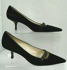 ANN TAYLOR Black Pointed Toe Mid Kitten Heel Shoes UK 7.5 M Leather Formal C500