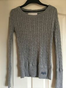Superdry Grey Croyde Cable Crew Size Small