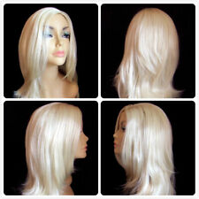 HIGH HEAT RESISTANT LONG HAIR WIGS PALE BLONDE LADY WOMENS WIG DAILY FULL WIG UK