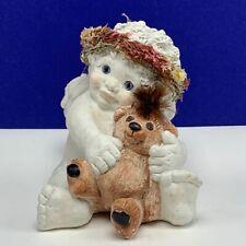 Dreamsicles figurine chalkware cherub angel signed Kristen Love my teddy Bear