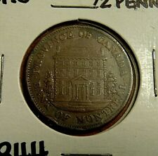 1844 BMO Montreal one half penny 1/2 cent copper bank token EF ?
