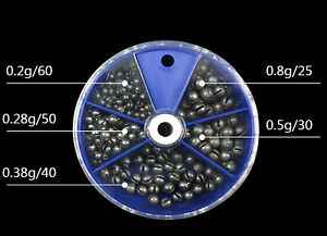 205pcs 5 Sizes 0.2g 0.28g 0.38g 0.8g 0.5g Small Removable Split Shot Sinkers Kit