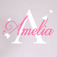 Girls Custom Name Personalised Wall Sticker Nursery Baby Initial Bedroom Decal p