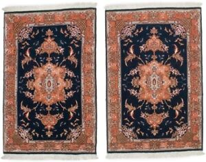 Vase Design Pair of Small 2X3 Hand-Knotted Classic Floral Oriental Rugs Carpet