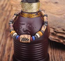 G164 B Handmade Craft Hemp Surfer Wristband Bracelet Bangle Ceramic Clay Beads