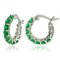 "Emerald Natural  with Swarovski Crystals  Hoop Earrings Silver 0.86"""