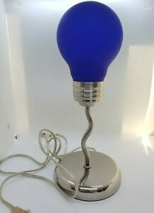 Blue Silver Light Bulb Lamp Stylish Cool Trendy Nightstand Desk Retro Modern