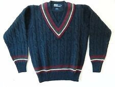 Polo by Ralph Lauren / 100% Wool / V-Neck Knit Sweater / Size: M / Deadstock