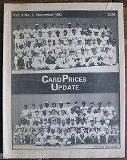 """1982 November """"Card Prices Update"""", Vol. 4 No. 3, 32-page BB hobby publication"""