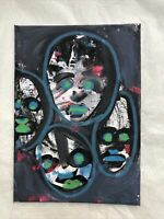 Hasworld Original Signed Painting Abstract Heads Graffiti Neo Expressionism Art