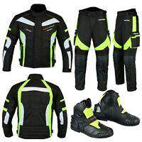 Motorcycle Motorbike Racing Jacket Trouser Biker Suit Riding Leather Boot Green