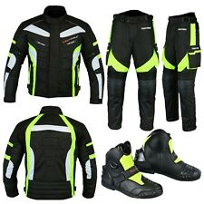 Motorcycle Motorbike Racing Jacket Trouser Biker Suit Riding Leather Boot Green