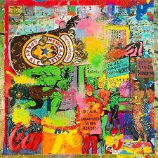 MR CLEVER ART JLA HULK AT WORK hand finished street art contemporary art pop art