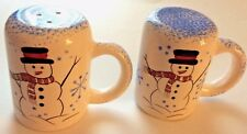 "Large Stove Top Salt and Pepper Shakers Handles Snowman/Snowflakes 3.5"" x 2.5"""