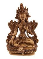 Soprammobile Tibetano Da Verde Tara Verde IN Resina Beige Buddista 14.5 CM 4924