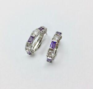 Modern Purple Amethyst & Cz Half Hoop Earrings Sterling Silver 925 FMGE
