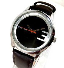Titan Quartz India Designer Black Dial All Stainless Steel Case Men's Watch 41MM