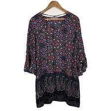 Katies Womens Shift Dress Size 12 Floral Geometric Boho Design Long Sleeve
