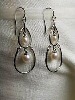 925 Sterling Silver Pearl Teardrop Chandelier Dangle Earrings French Hook